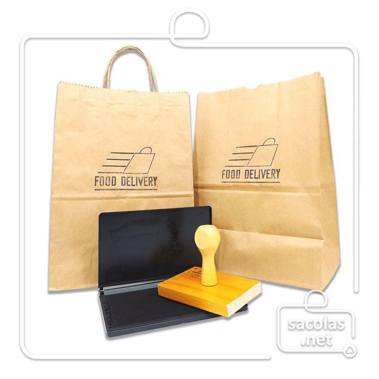 Carimbo 10x10 cm com logo + Almofada para personalizar sacos e sacolas