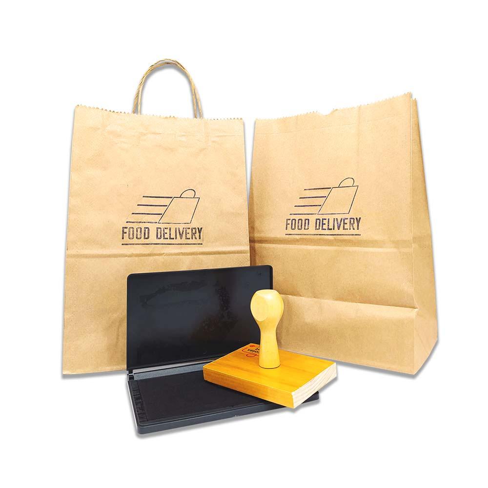 Carimbo (até 10x10 cm) com logo + Almofada para personalizar sacos, sacolas e caixas