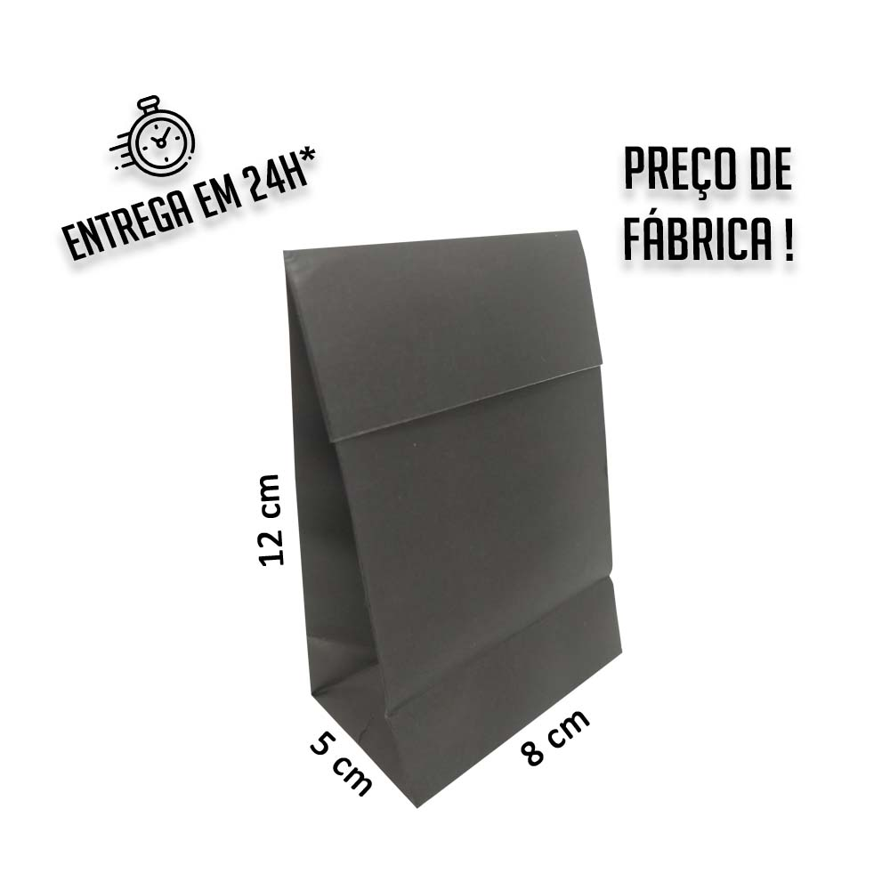 Envelope para Jóias Preto 12x8x5 cm (AxLxP) - pacote com 100 unidades