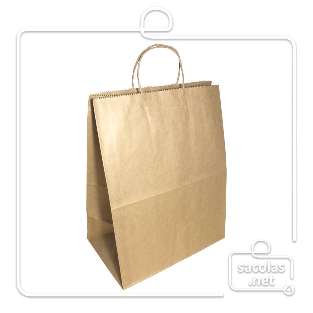 Kit Sacola Kraft Delivery 38x30x19 cm + Carimbo com seu logo