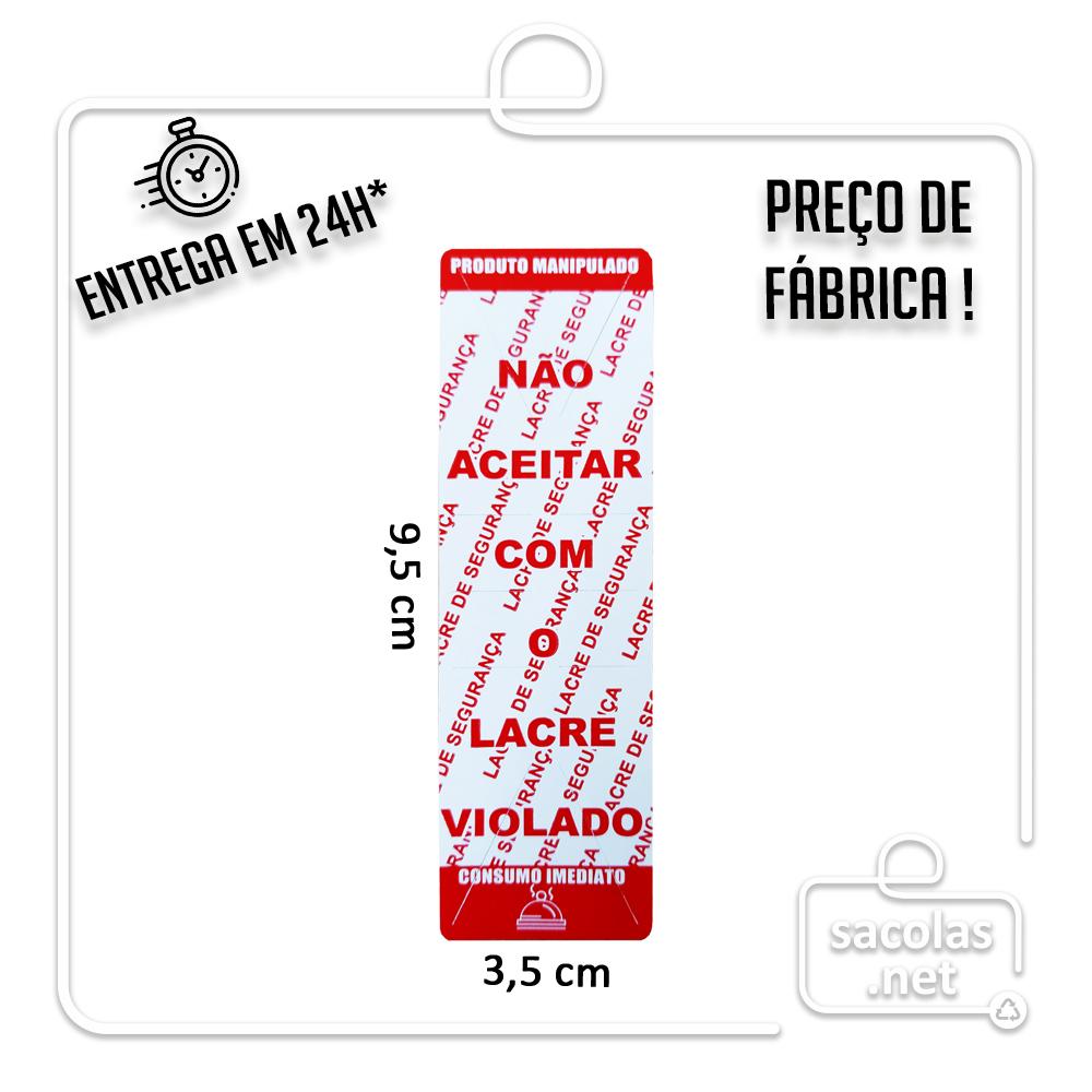 Lacre Adesivo Inviolável 3,5x9,5 cm - rolo com 1.000 etiquetas