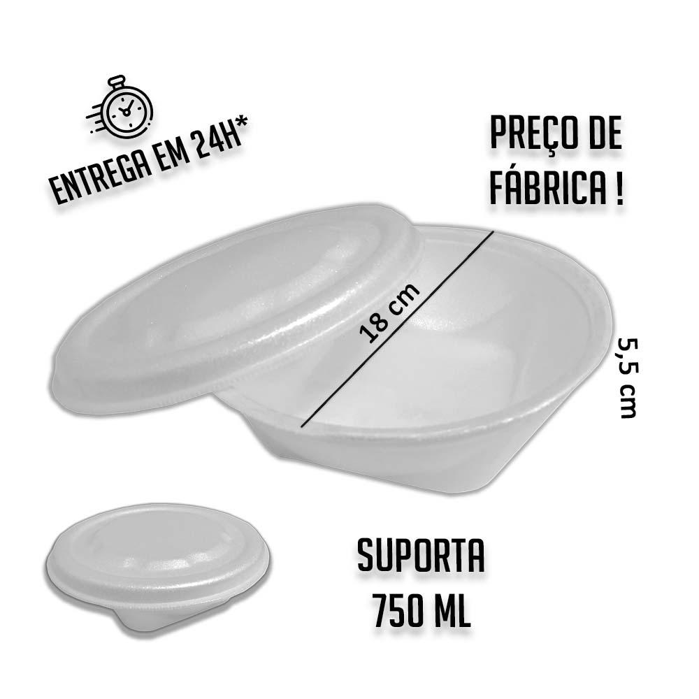 Marmitex Isopor 750 ml 18x5,5 cm (Diâmetro x A) - pacote com 25 unidades
