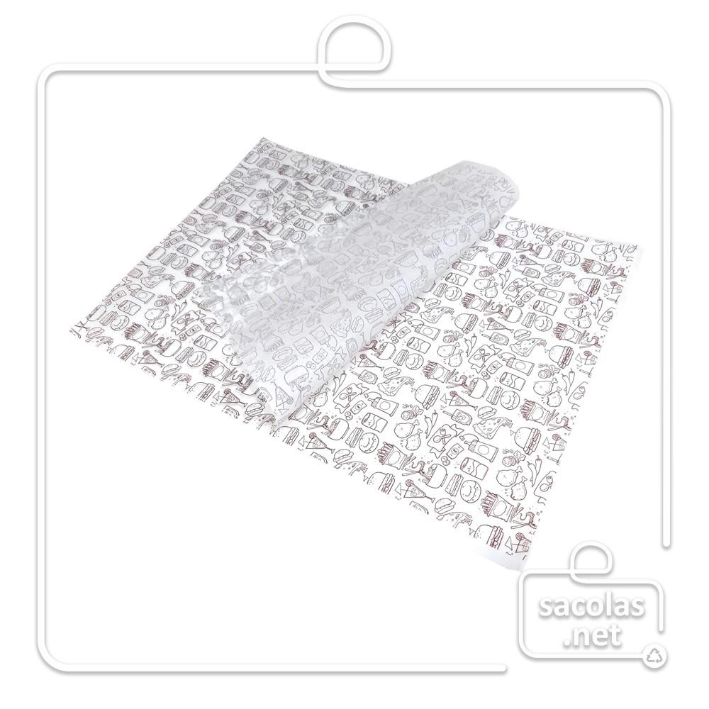 Papel Anti Gordura estampado 30x40 cm (papel manteiga) - pacote com 200 folhas