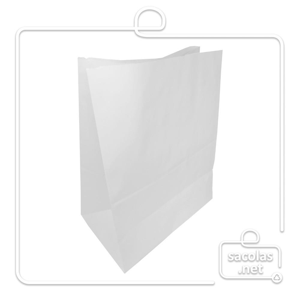 Saco Branco Delivery 32x30x19 cm (AxLxP) - pacote com 100 unidades