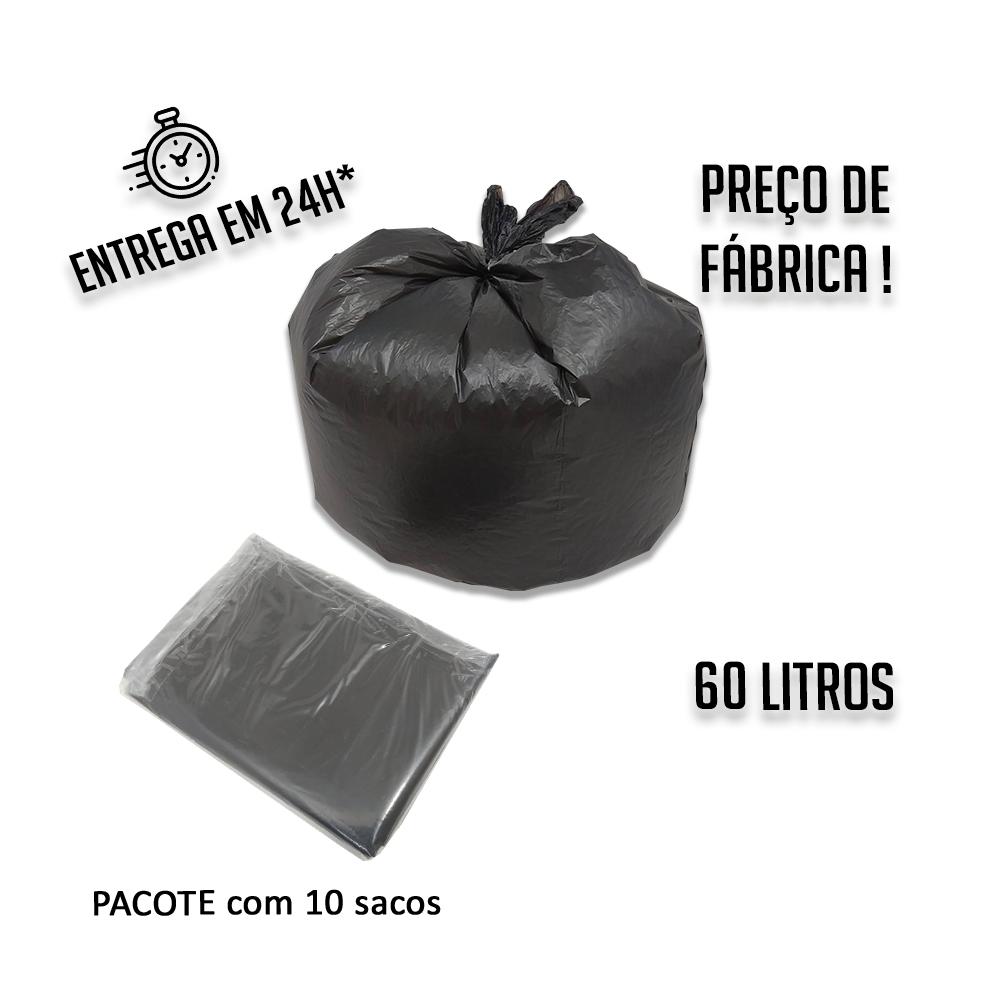 Saco de lixo preto 60L - pacote com 10 uni