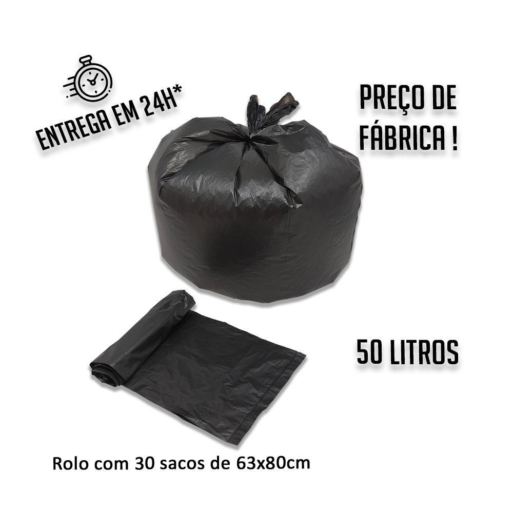 Saco de lixo (R) Rolo PIC 63x80 Preto 50L - Rolo com 30 unidades