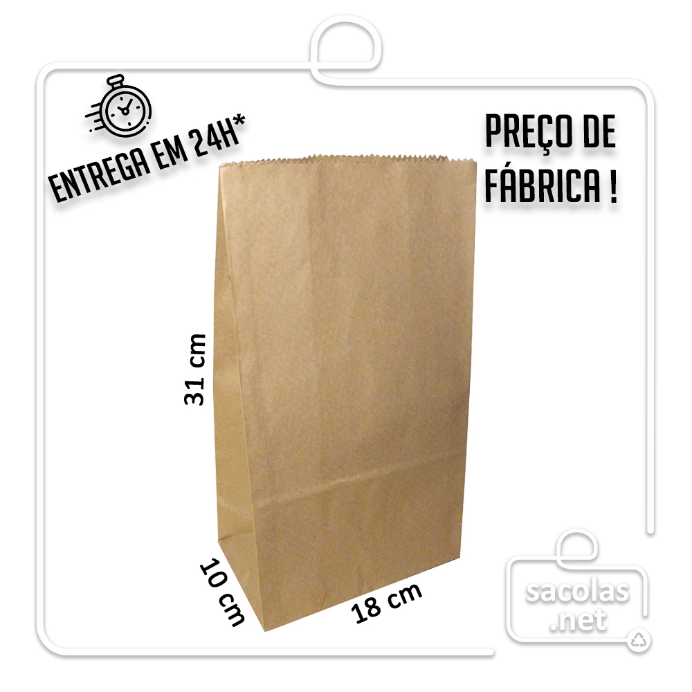 Saco Kraft 31x18x10 cm (AxLxP) - pacote com 100 unidades
