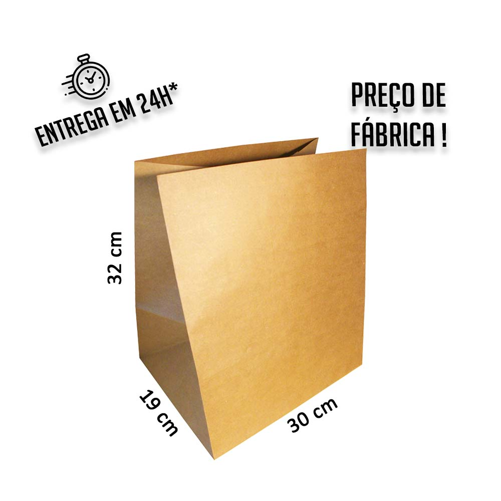 Saco Kraft delivery 32x30x19 cm (AxLxP) - pacote com 100 unidades