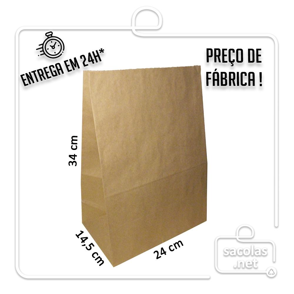 Saco Kraft delivery 34x24x14,5 cm (AxLxP) - pacote com 100 unidades