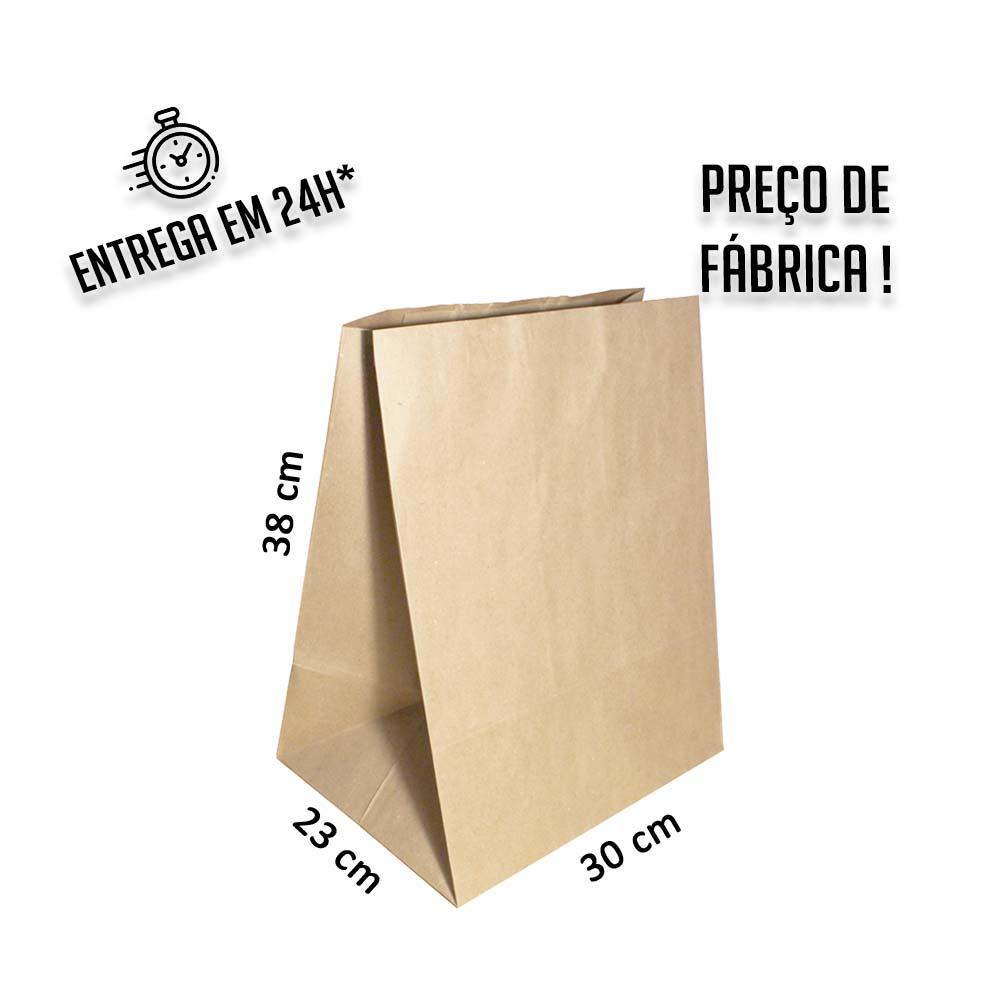 Saco Kraft delivery 38x30x23 cm (AxLxP) - pacote com 50 unidades