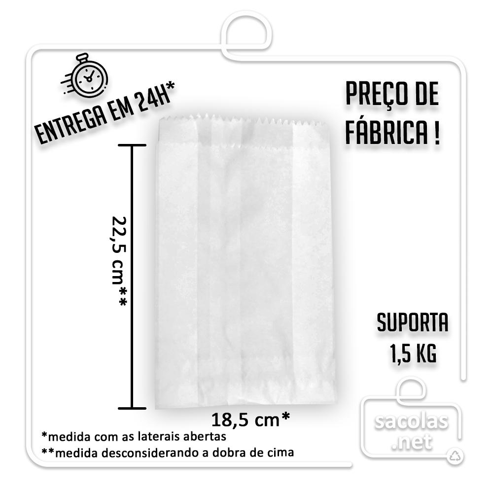 Saco (Saquinho) Barreira Branco V2 22,5x18,5 cm (AxL) - pacote com 500 unidades