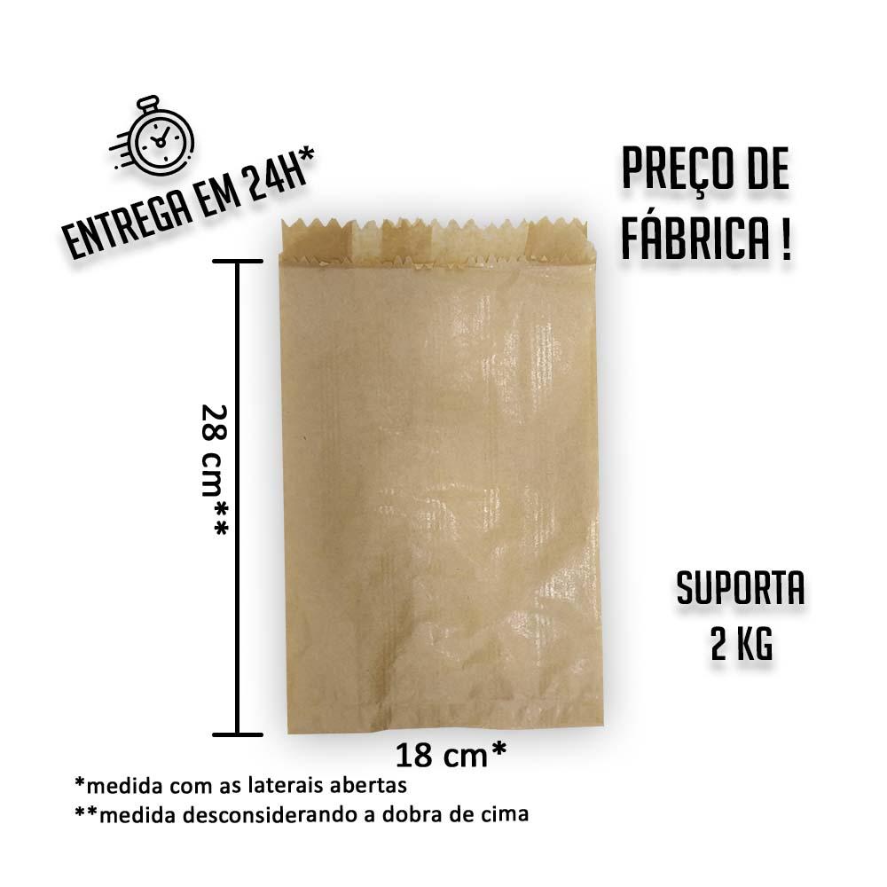Saco (Saquinho) Kraft 2 K 28x18 cm (AxL) - pacote com 500 unidades