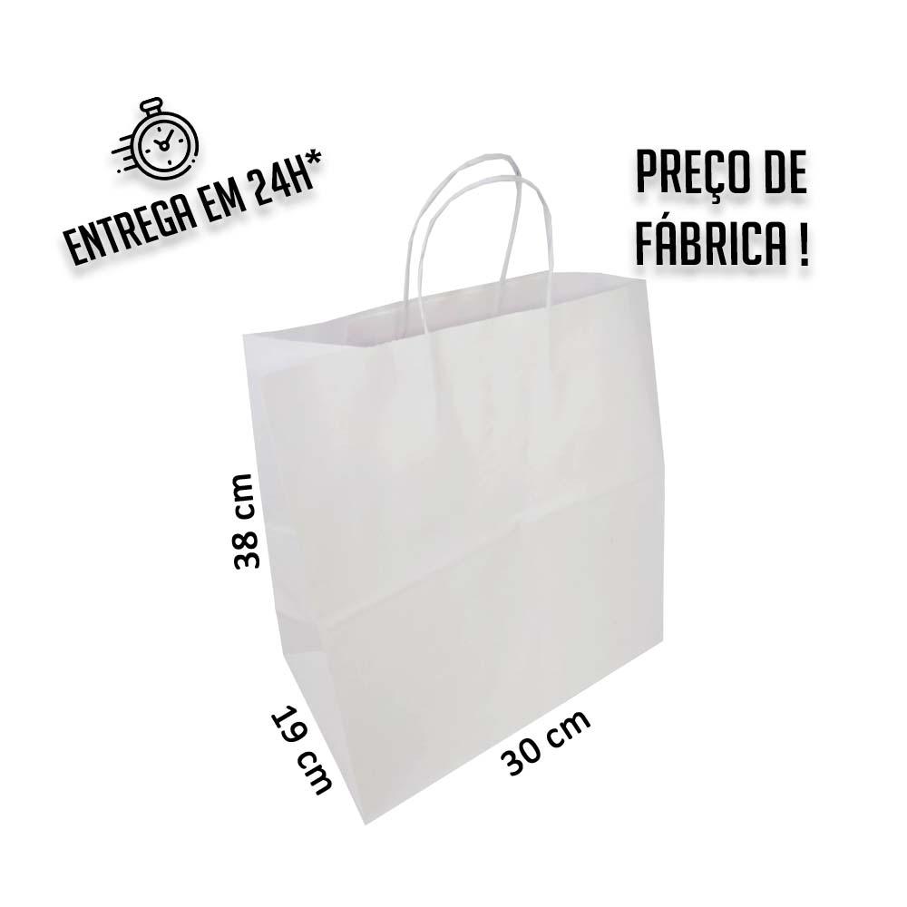 Sacola Branca Delivery 38x30x19 cm (AxLxP) - pacote com 100 unidades