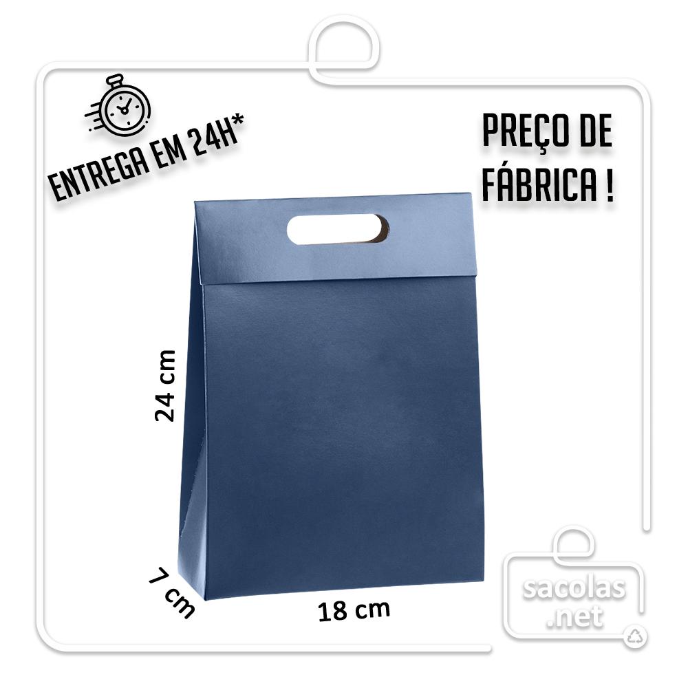 Sacola Caixa Azul 24 x 18 x 7 cm (AxLxP) - pacote com 5 unidades