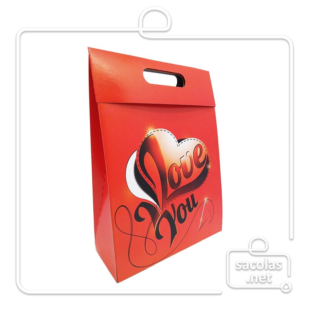 Sacola Caixa Love You 29 x 23 x 8 cm (AxLxP) - pacote com 5 unidades