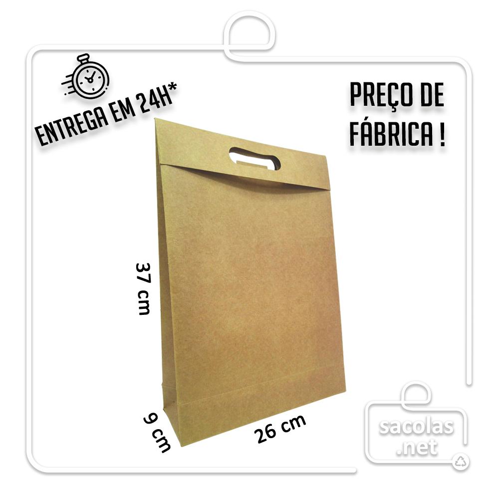 Sacola-Caixa para Presente kraft 37 x 26 x 9 cm (AxLxP) - pacote com 5 unidades