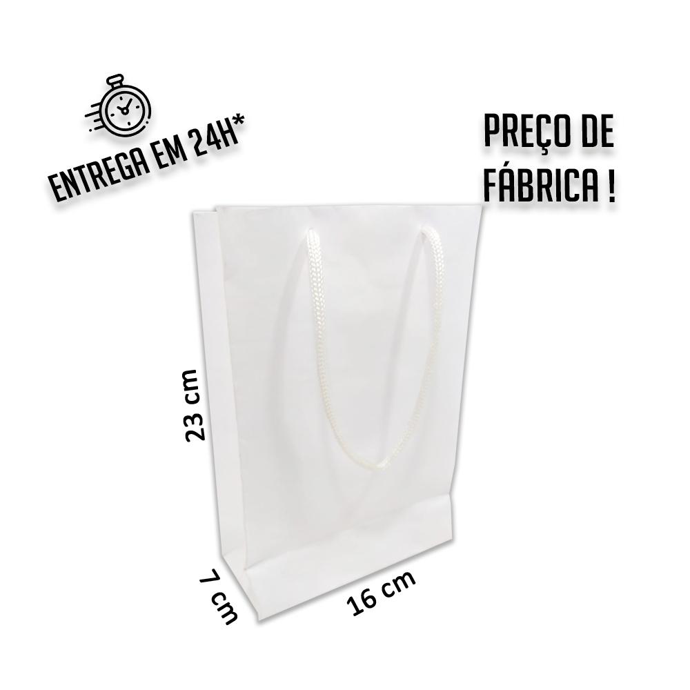 Sacola Handmade 23x16x7 cm Branca (AxLxP) - pacote com 100 unidades