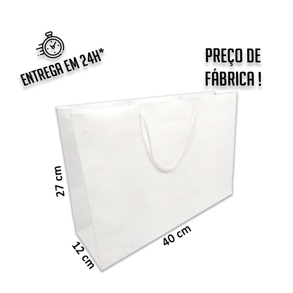 Sacola Handmade 27x40x12 cm Branca (AxLxP) - pacote com 50 unidades