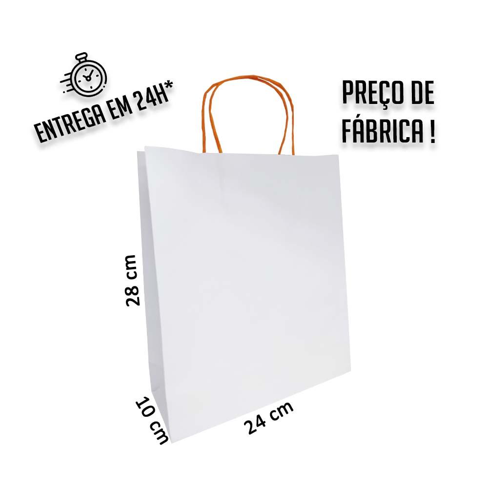 Sacola Handmade 28x24x10 cm Branca (AxLxP) - pacote com 50 unidades