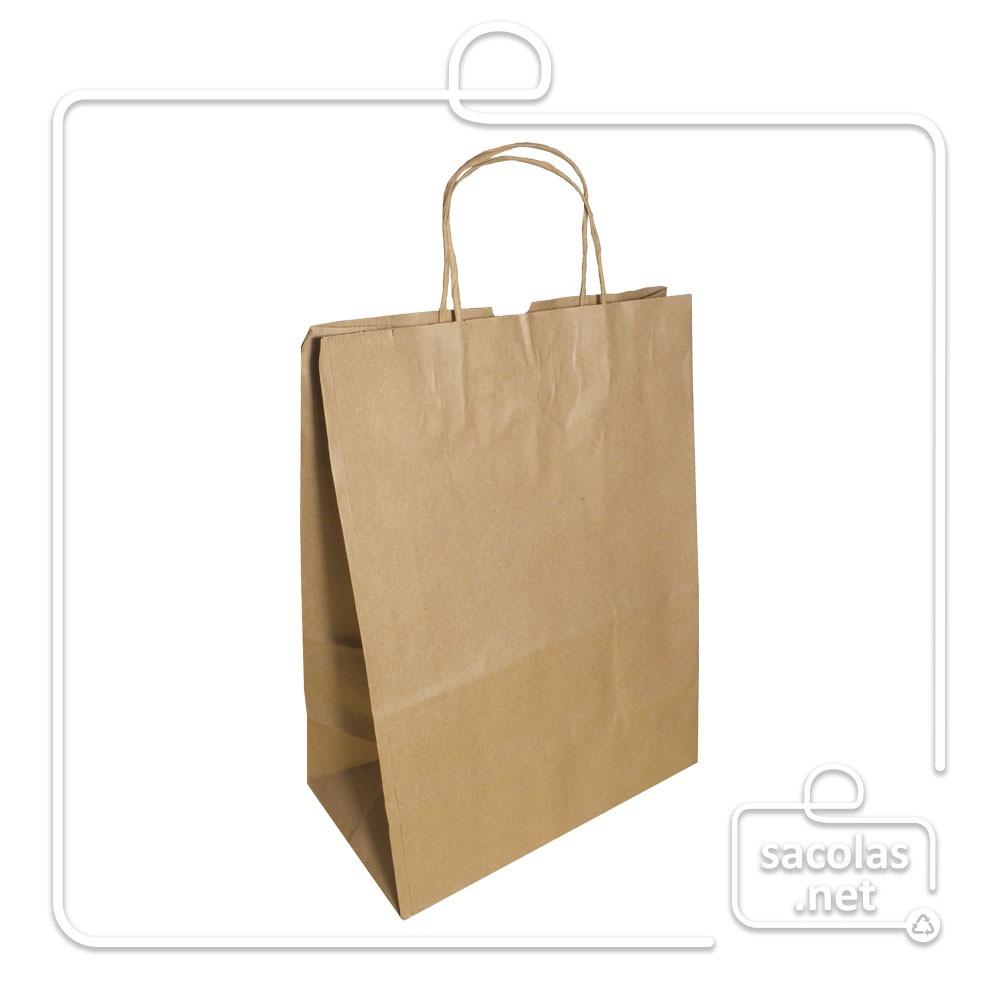 Sacola Kraft delivery 34x24x14,5 cm (AxLxP) - pacote com 100 unidades
