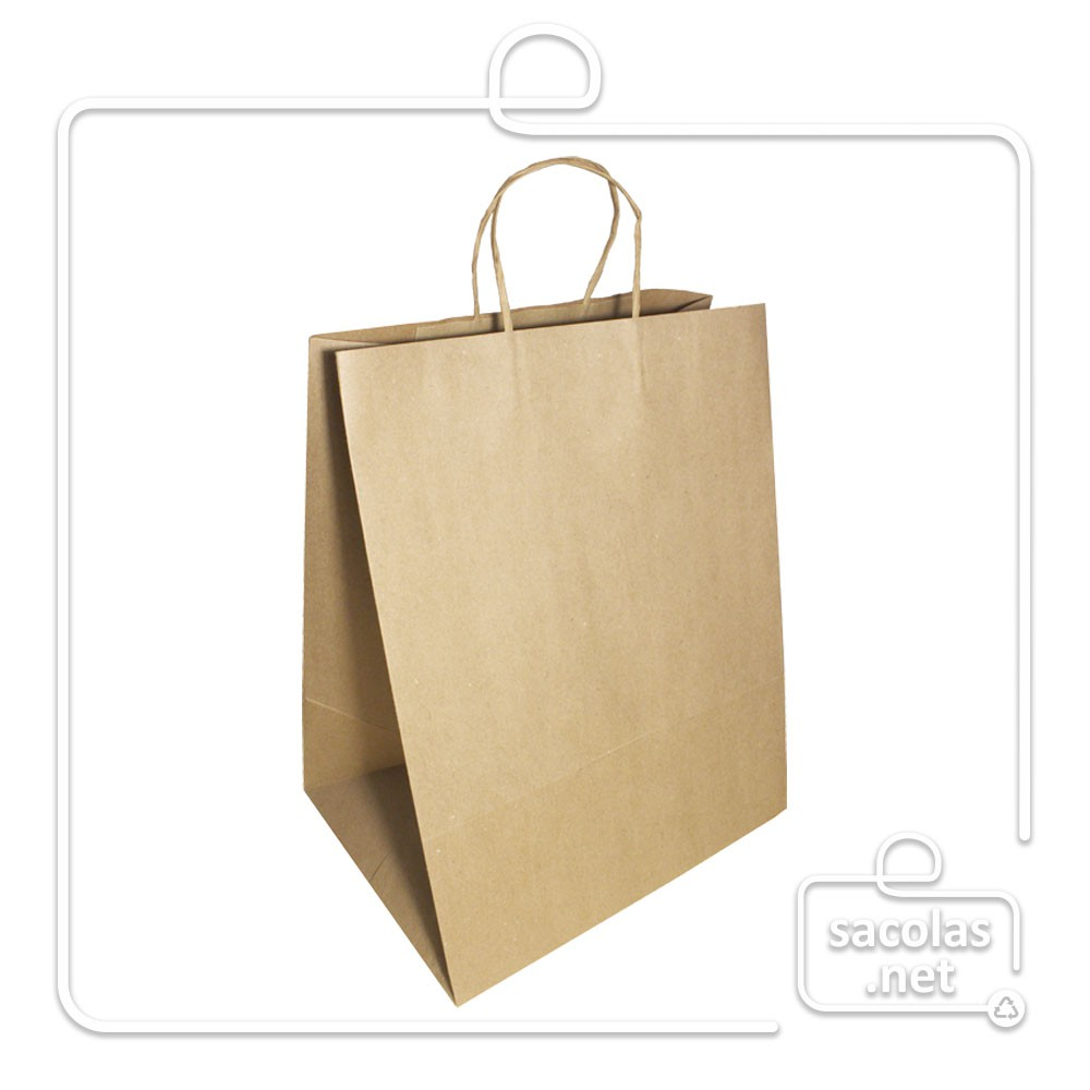 Sacola Kraft delivery 38x30x23 cm (AxLxP) - pacote com 50 unidades