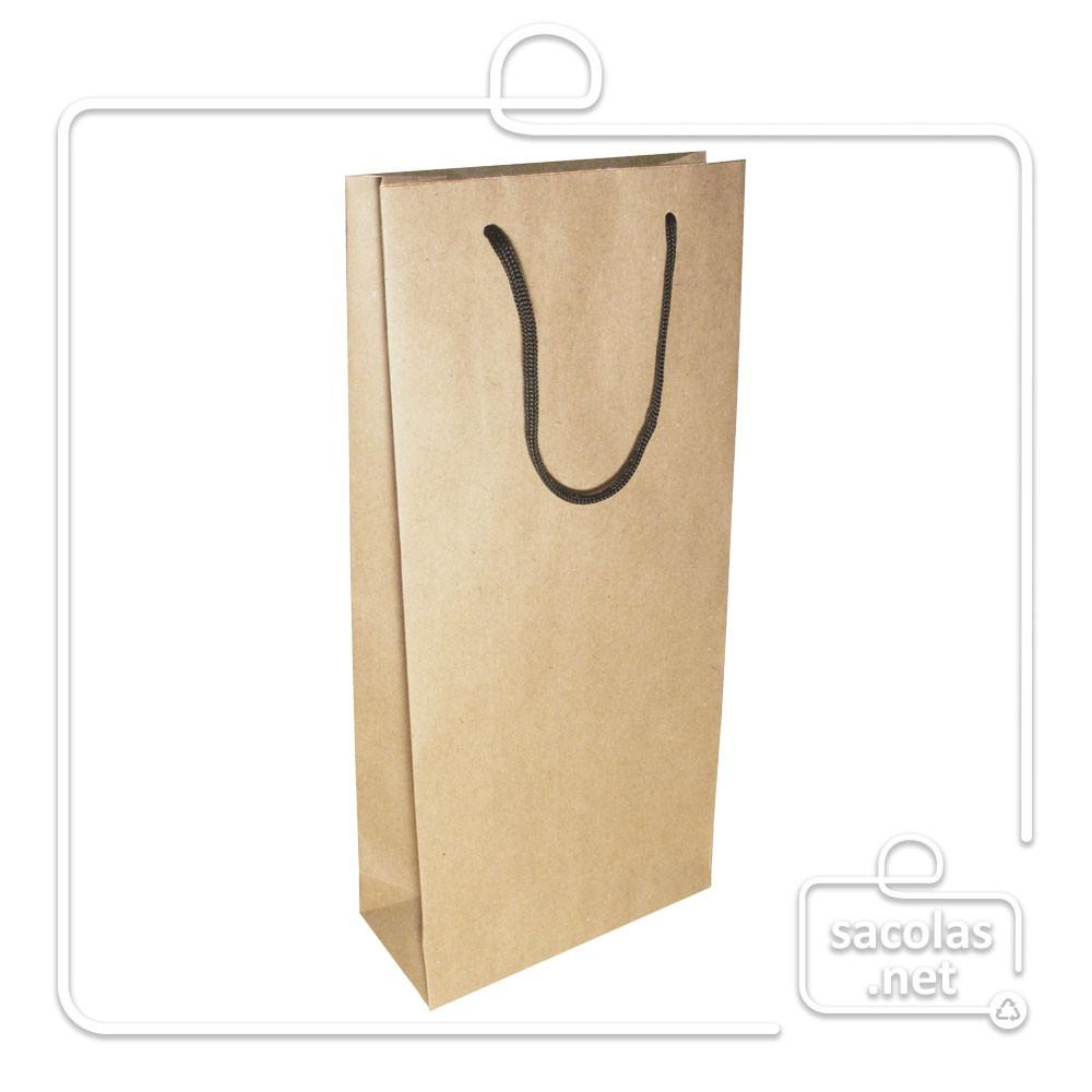 Sacola Kraft para 2 garrafas 39x18x8 cm (AxLxP) - pacote com 40 unidades