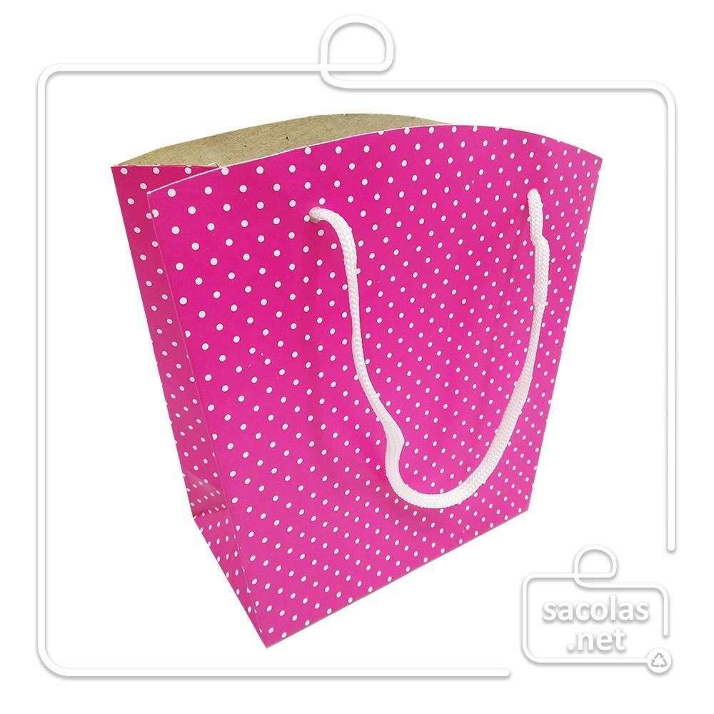 Sacola Pink 18,5 x 14,4 x 8 cm (AxLxP) - pacote com 5 unidades