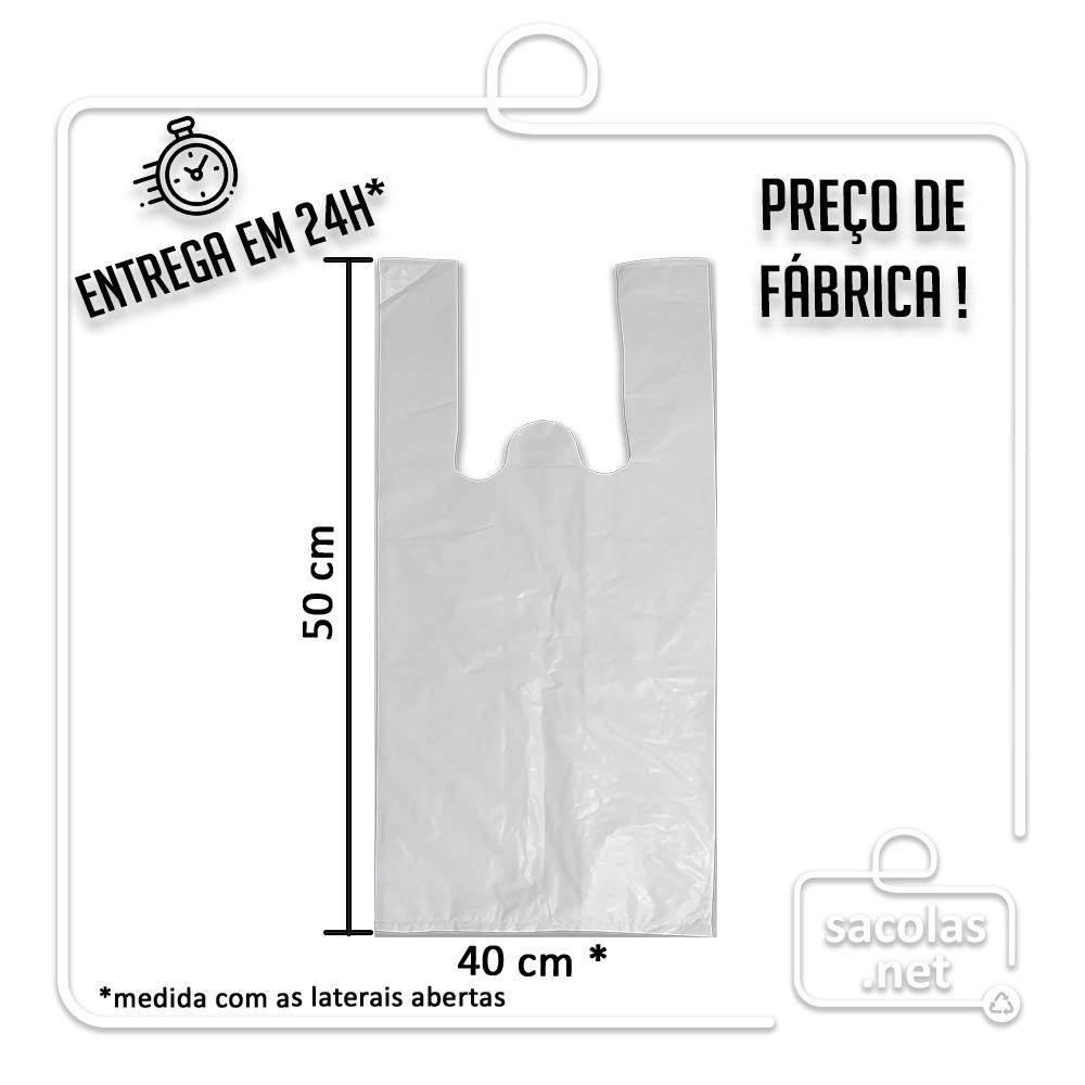 Sacola Plástica Branca A 40x50cm - Pacote com 1 kg