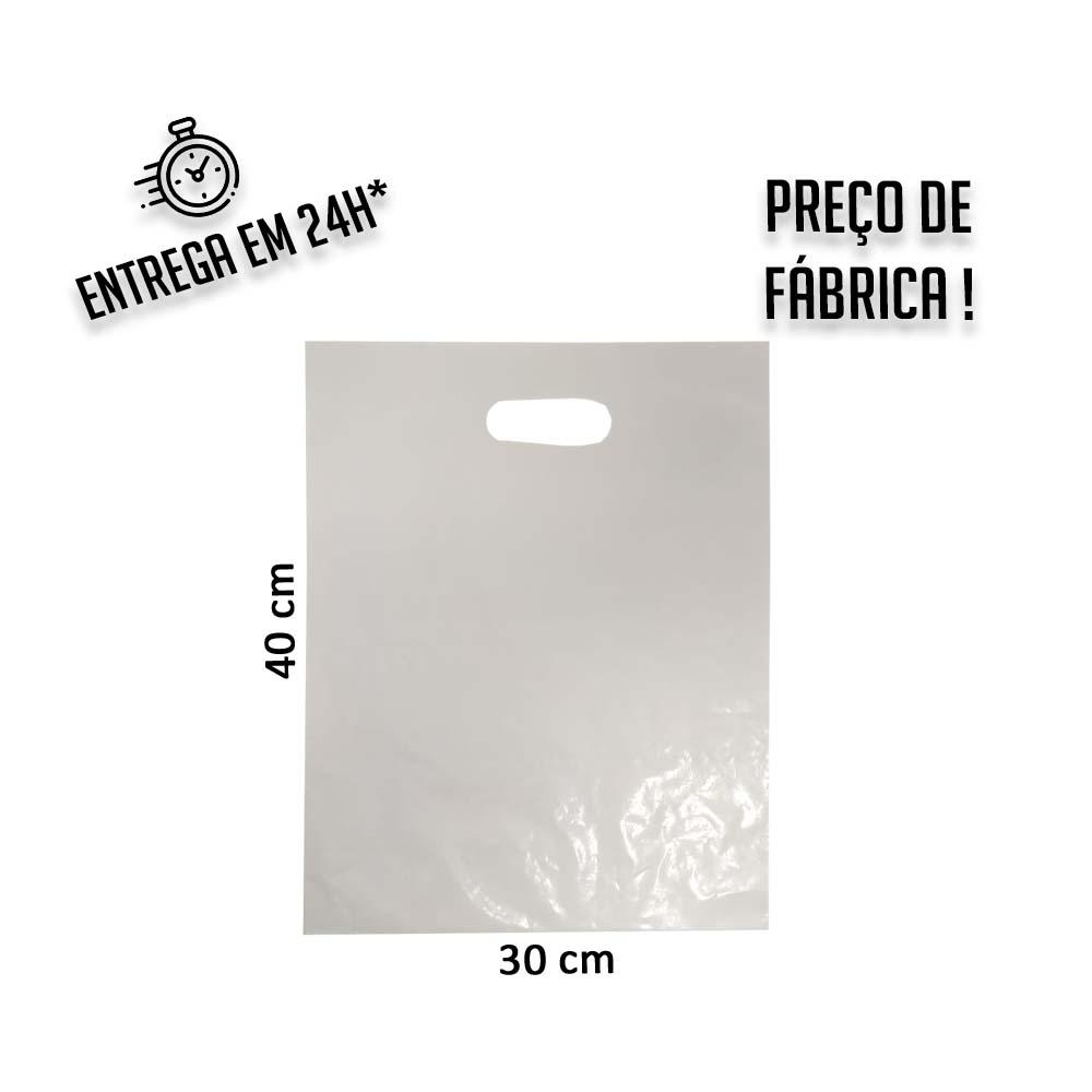 Sacola Plástica Branca Boca de Palhaço Reciclada 30x40cm - pacote com  1Kg