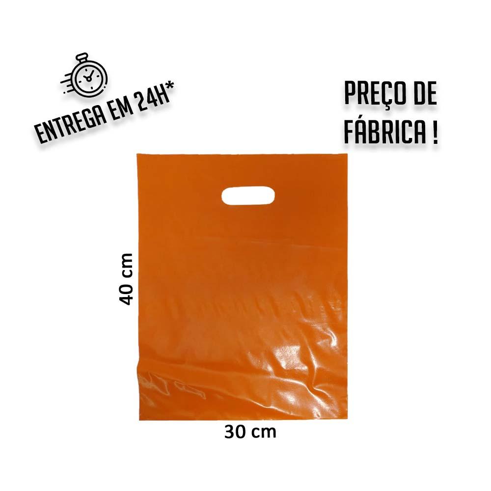Sacola Plástica Laranja Boca de Palhaço Reciclada 30x40cm - pacote com 1Kg