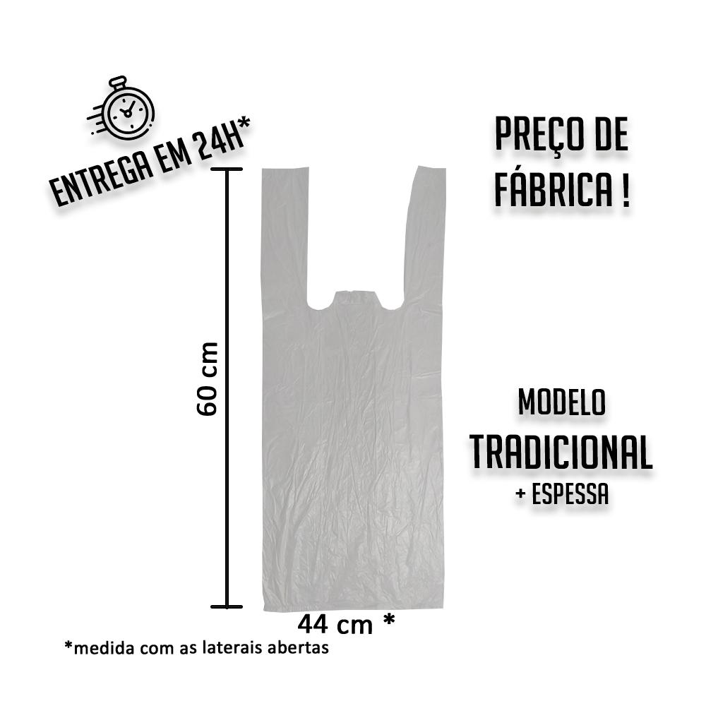 Sacola Plástica (R) Branca 44x60cm tradicional - Pacote com 1000 unidades
