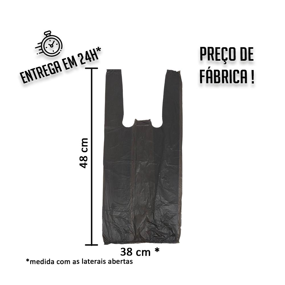 Sacola Plástica (R) Preta 38x48cm - Pacote com 1.000 unidades