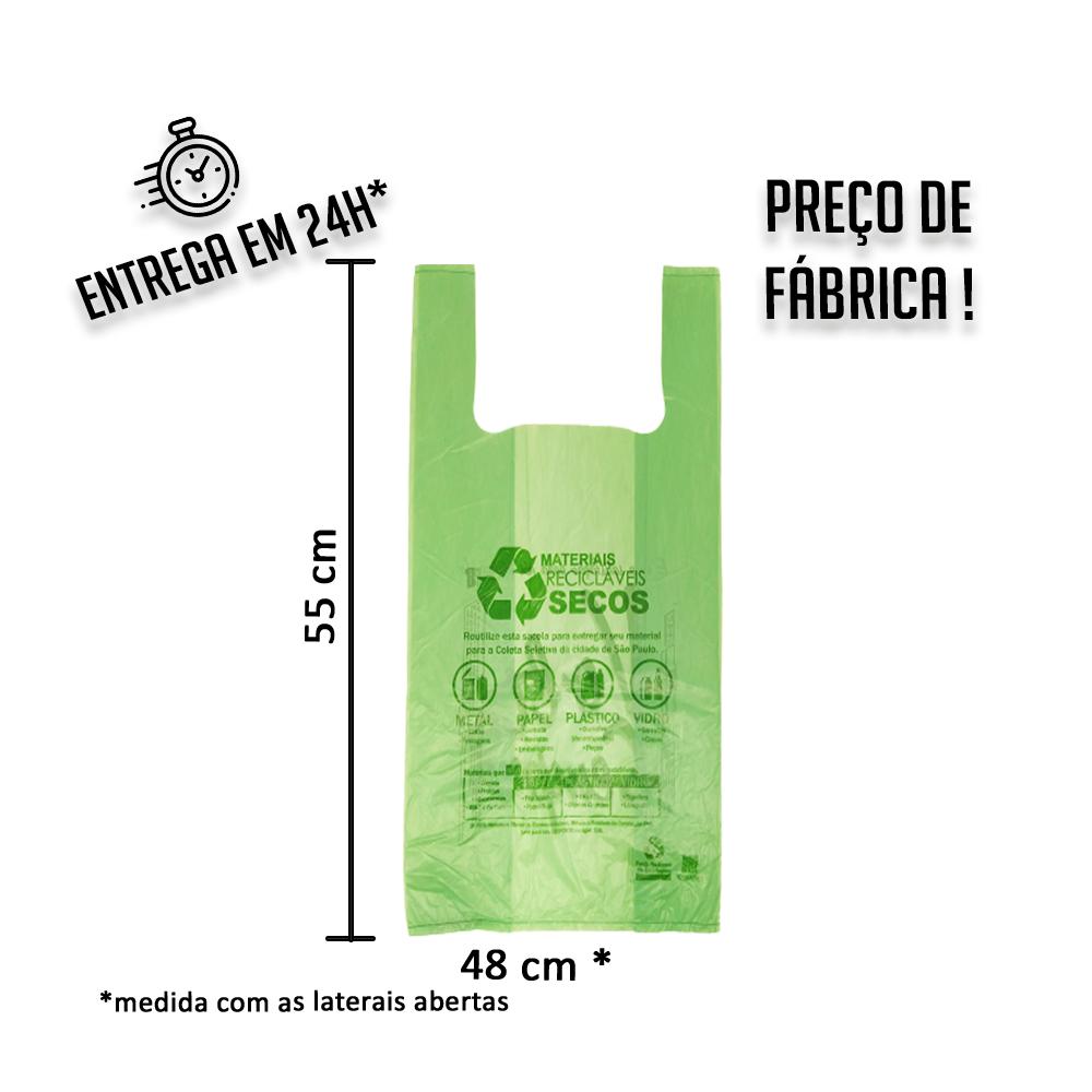 """Sacola Plástica (R) verde """"volte sempre"""" 48x55cm - Pacote com 500 unidades"""