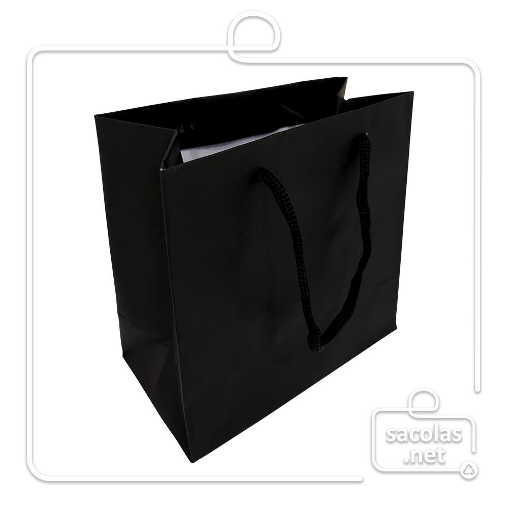 Sacola Handmade 14x15x8 cm Preta (AxLxP) - pacote com 100 unidades