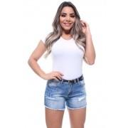 Short Jeans Feminino Curto Destroyed Com Cinto Boy Crocker - 46433