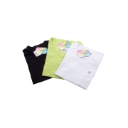 Kit 3 Baby Look Feminina Manga Curta Básica Crocker - 47721 Preto/Verde/Branco