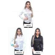 Kit 3 Camisas Femininas Manga Longa Cetim Crocker - 45749 Preto/Areia/Branco