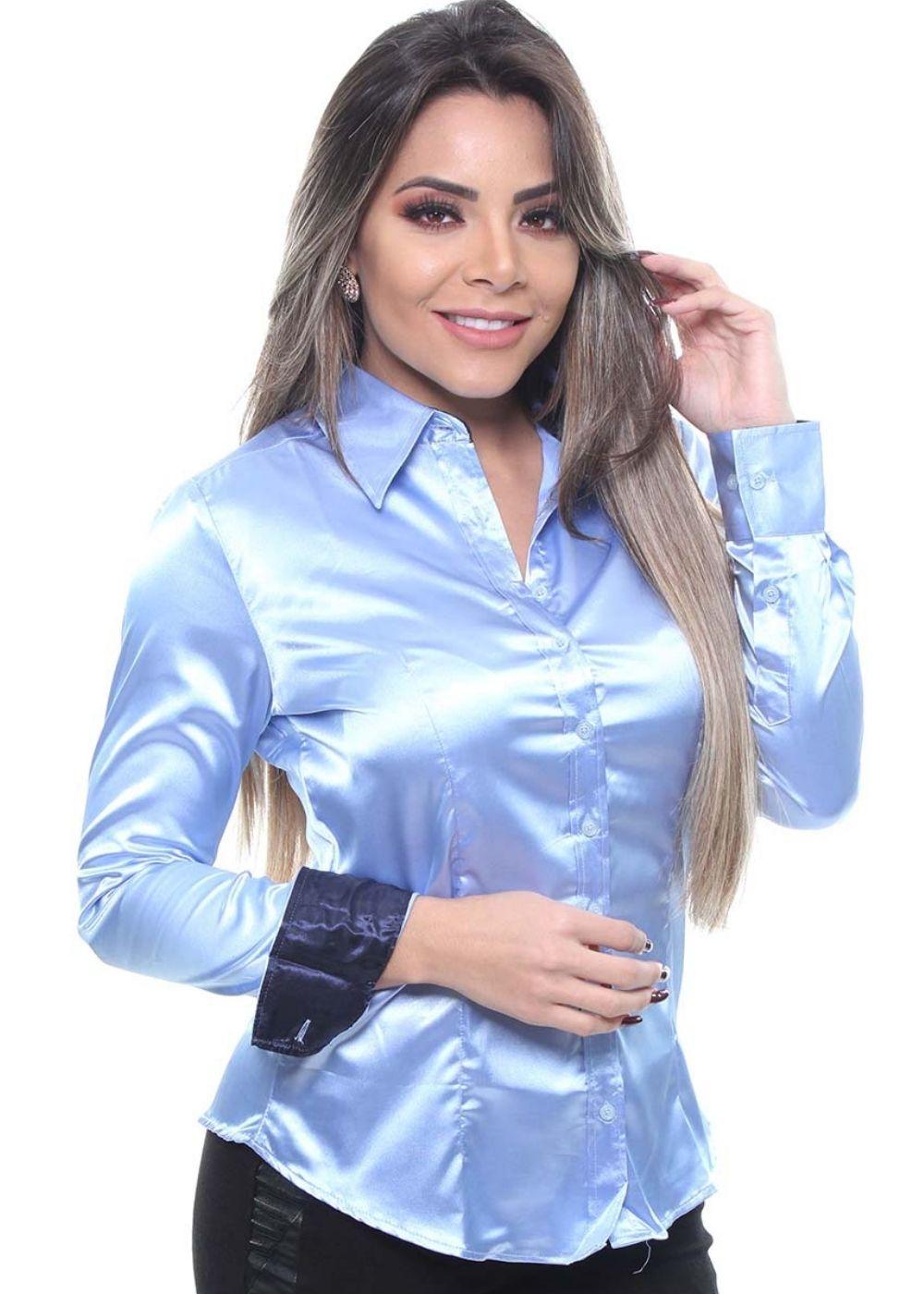 Camisa Feminina Manga Longa De Cetim Crocker - 45749
