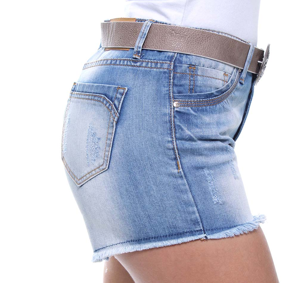 Short Jeans Feminino Curto Barra Desfiada Com Cinto Boy Crocker - 46431