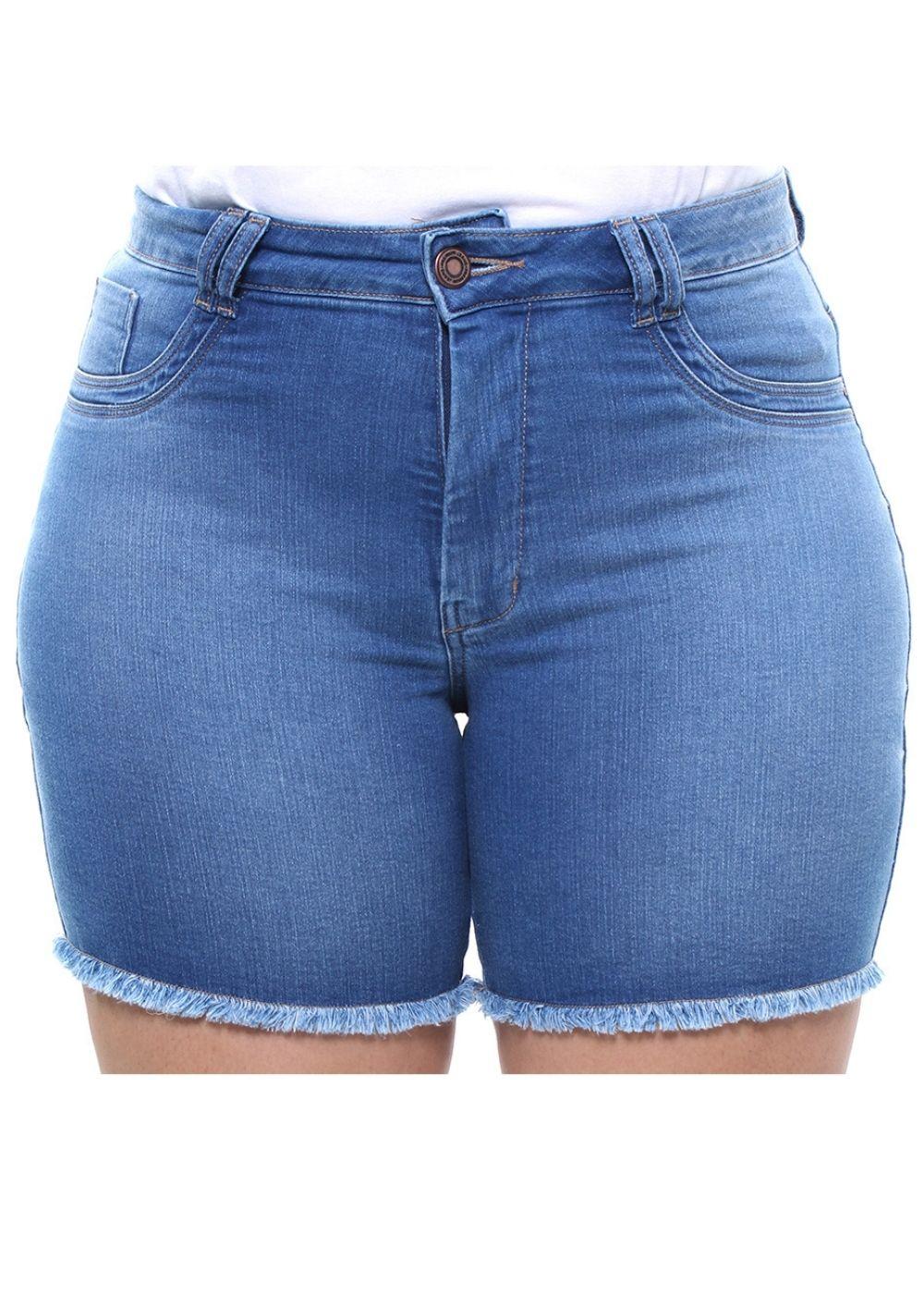 Bermuda Ciclista Jeans Feminina Plus Size Barra Desfiada Crocker - 47754