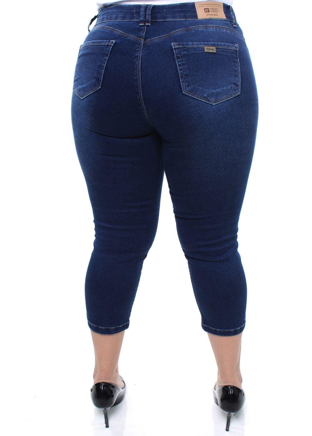 Calça Jeans Plus Size Feminina Capri Crocker - 47770