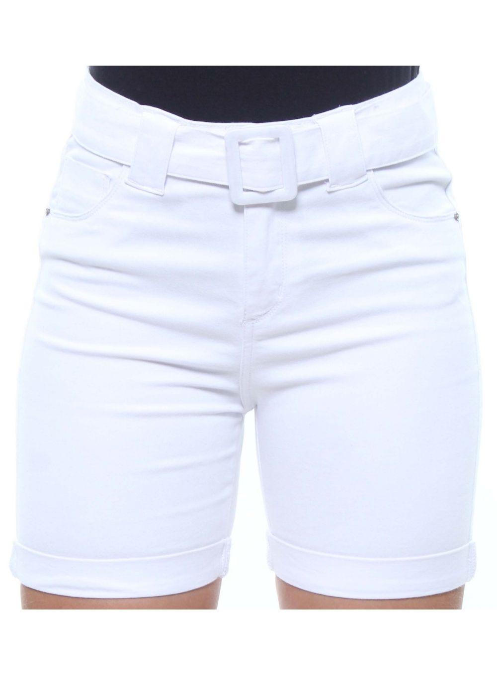 Bermuda Ciclista Jeans Feminina Branca Com Cinto Crocker - 47832