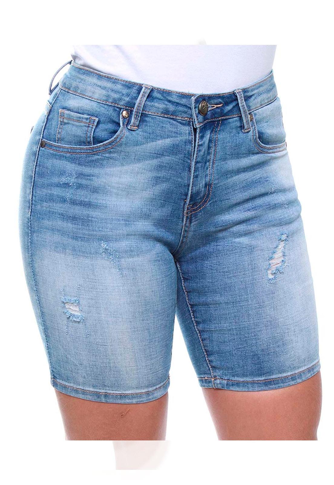 Bermuda Ciclista Jeans Feminina Estonada Crocker - 46346  - CROCKER JEANS
