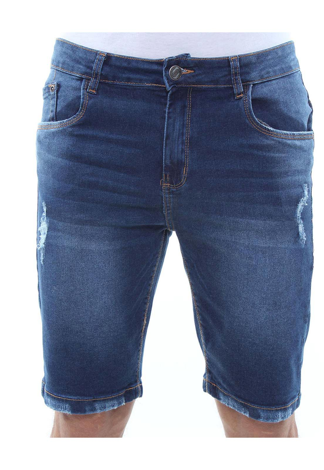Bermuda Jeans Masculina Destroyed Confort Crocker - 47788
