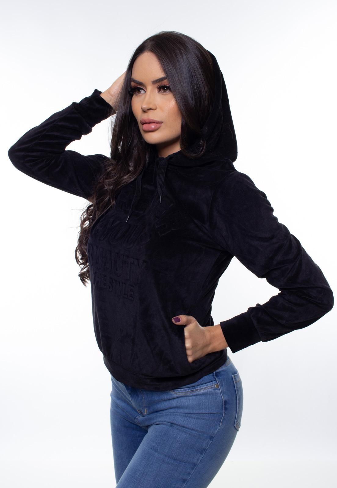 Blusa Plush Feminina Com Capuz Crocker - 47376  - CROCKER JEANS