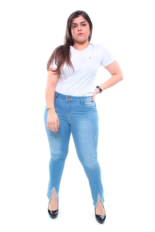 Calça Jeans Plus Size Feminina Skinny Destroyed Crocker - 47538