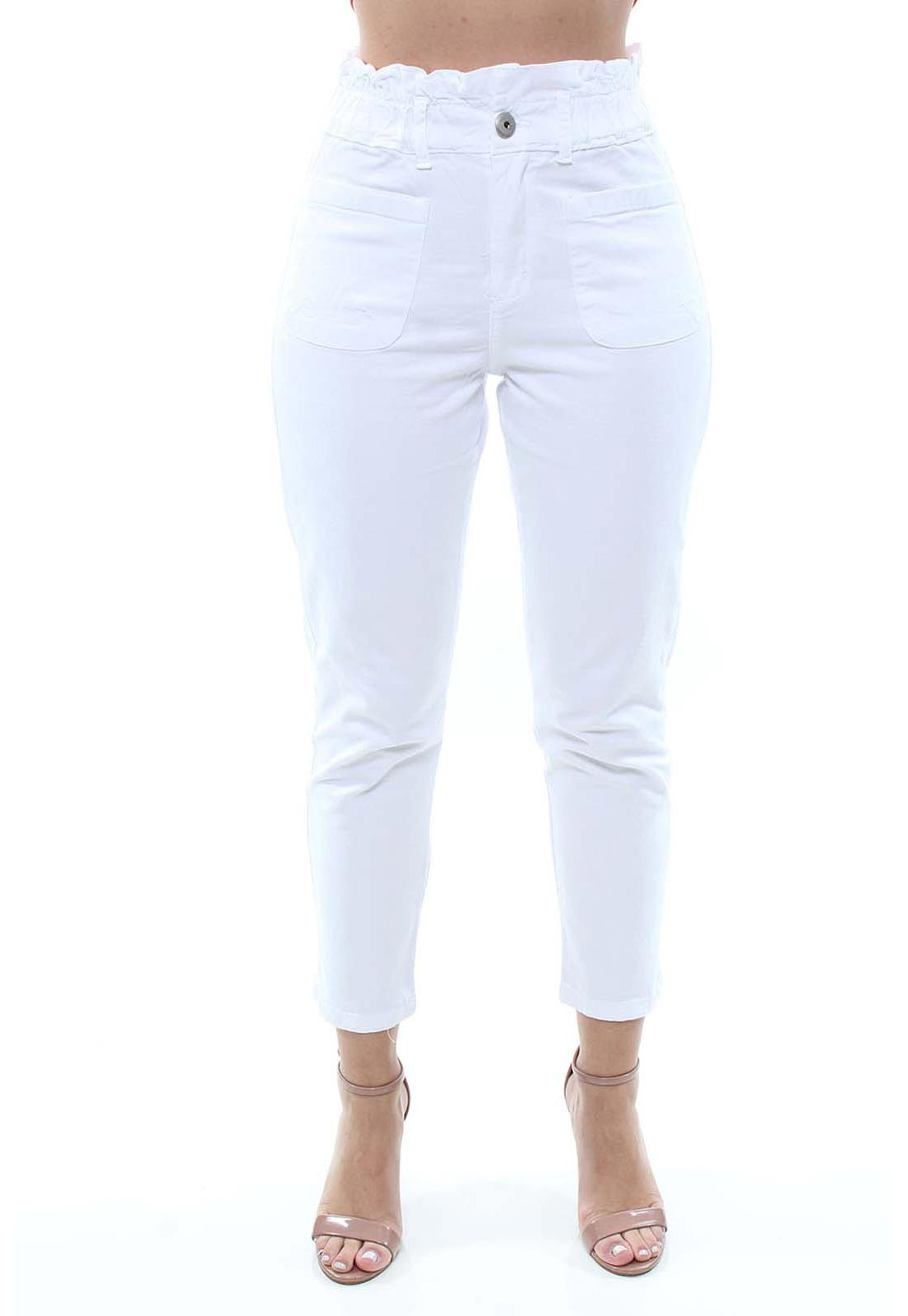 Calça Jeans Feminina Sarja Clochard Branca Crocker - 47717