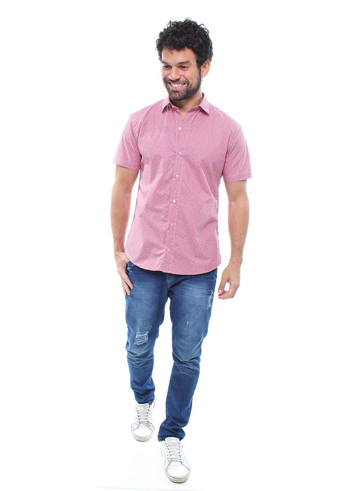 Camisa Estampada Masculina Manga Curta Crocker - 47937