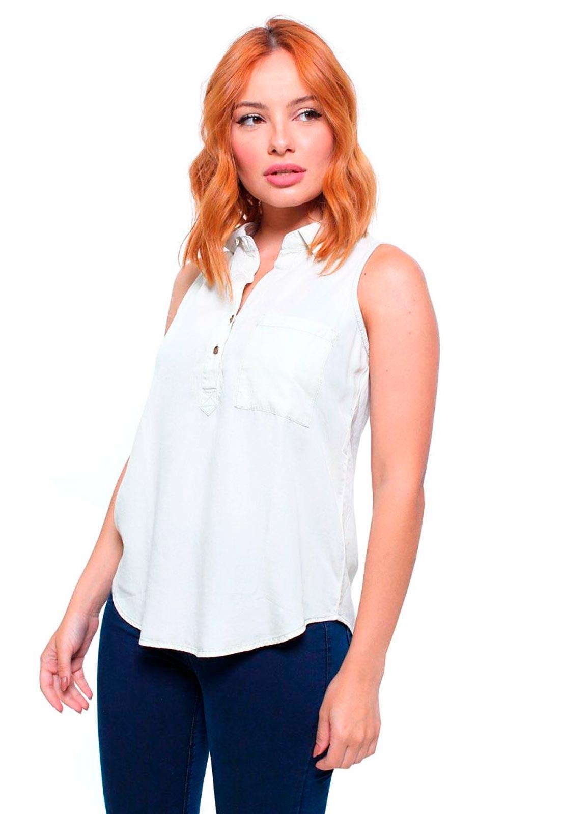 Camisa Feminina Jeans Sem Mangas Crocker - 45754