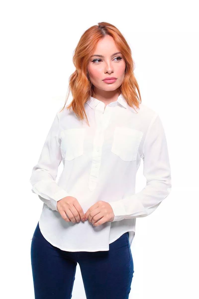 Camisa Feminina Manga Longa Com Bolsos Crocker - 45762